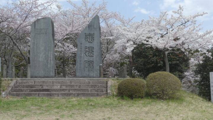 お館山の桜と忠魂碑